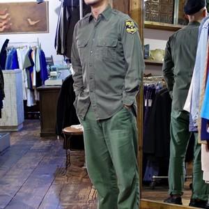 1950s Police Shirt / Cotton Poplin / コットン ポプリン ワークシャツ マチ付き