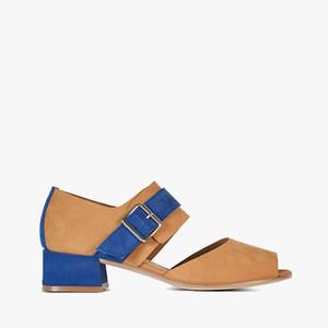 Deux Souliers (サンプルコレクション) - Buckle Semi Heel #1 バックルセミヒールサンダル (Cuero&Azulón) 【スペイン】【靴】【シューズ】【ベージュ】【インポート】【VOGUE】