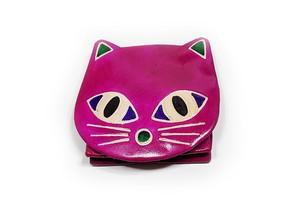 小銭入れミニポーチ 猫パース ネコモーブピンク ヤンピー インドレザー