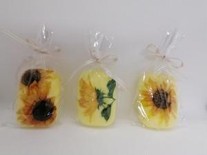 【デコパージュ】石鹸柚子の香り(ひまわりデザイン2)3個セット