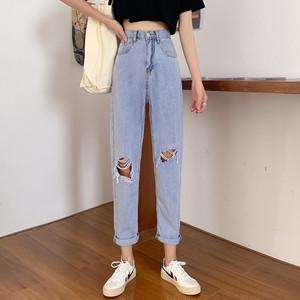 【ボトムス】ファッションハイウエストダメージ加工デニムパンツ30060604