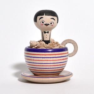 コーヒーカップこけしちゃん 約2寸 約5.8cm 長谷川優志 工人(津軽系)#0168