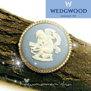 ヴィンテージ WEDGWOOD★ウエッジウッド ジャスパーウエア サーキュラー ブローチ 1960s  BLUE JASPER WARE