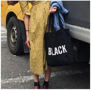 カラー ロゴ キャンバス カジュアル トート バッグ かわいい 帆布 A4サイズ iPadが入る ブラック gdab243