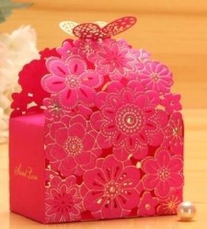かわいい お花 の ラッピング ボックス ピンク L vwab142