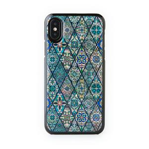 [天然貝ケース] iPhone/Xperia/Galaxyケース(ブルーモロッコタイル・黒カバー)<螺鈿アート>【ラッピング対応】