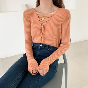 【tops】vネックリボン結び透かし彫りセーター25562464