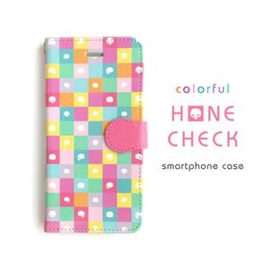 カラフル骨チェックスマホケース(ピンク)[手帳型](大きいサイズ)