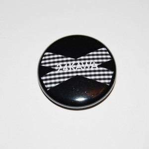 Gingham Check Logo Black Button Badges