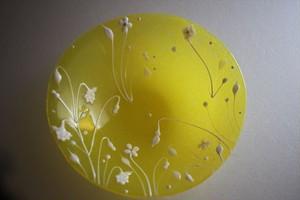 松下高文|見上げる景色 ガラス鉢径170 黄