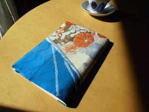 時代物振袖着物から絹のA5サイズブックカバーA
