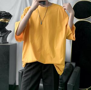 ふんわり可愛い フレア ロング Tシャツ 体型カバー ユニセックス ラウンドネック 半袖 オーバーサイズ ボーイッシュ 2020 夏 お出かけ デート ルーム t699