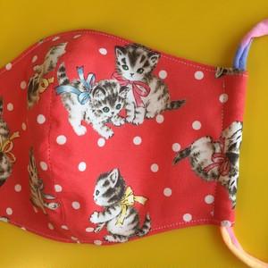 レディースファッションマスク  リボンと子猫ちゃん