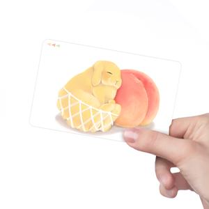 ICカードステッカー 白桃と黄桃うさぎ