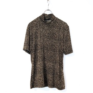 Leopard Pattern High Neck S/S Top / レオパード柄ハイネックトップス