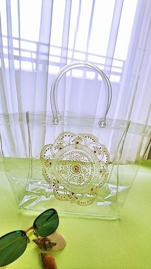 曼荼羅装飾アートデザインのクリアバッグ Bタイプ