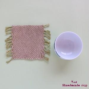 毛糸の和風コースター ❤ 緑