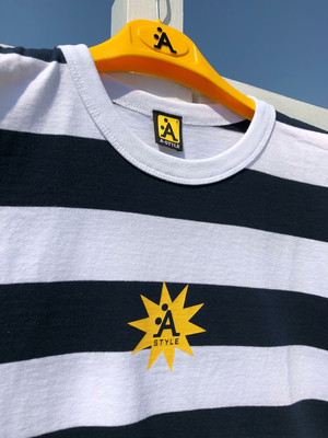 A-STYLEボーダーTシャツ in Yellow LOGO