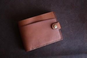 シンリンのキャメルの牛革の二つ折り財布 001