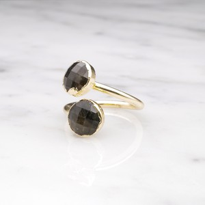 DOUBLE STONE OPEN RING GOLD 046