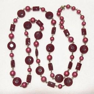【セール品】赤茶色のビーズのロングネックレス コスチュームジュエリーのセール通販  4655N