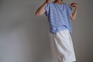 スクエアー フレンチスリーブ シャツ /コットン ボーダー バスク マリン【 サックスブルー&ホワイト 】 / square french sleeve shirt cotton stripe【sax blue & white】 boat neck