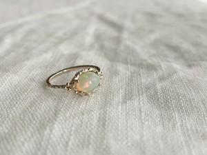 Line ring gem K10gold Ethiopian opal