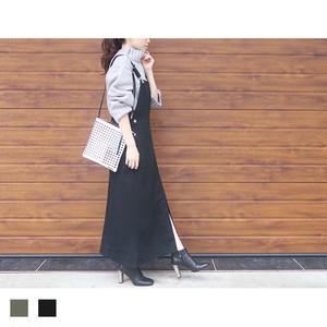 【予約】ロングジャンパースカート(ブラック)|S09056