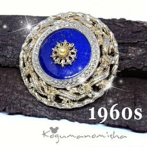 ヴィクトリアン復刻★ロイヤルブルー ガラス象嵌 フェイクパール ヴィンテージ ブローチ 1960s 大ぶり モーニングジュエリー 男女兼用