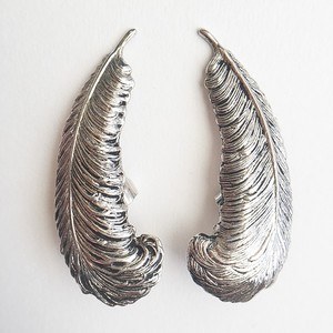 """Sarah Coventry"" silver feather earring[e-755]"