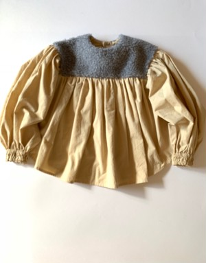 レディースサイズ boa gather blouse*  gray boa×beige