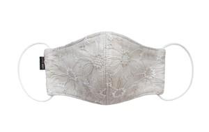 【新作レディース高級素材 夏用デザイナーズマスク COOLMAX使用 日本製】花柄刺繍 綿レースマスク ベージュ色