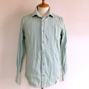 Wrinkled Denim Short Collar Shirts LightBlue