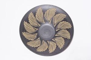 【受注生産対応】8寸パスタ皿 黒釉 クバ紋様12柄