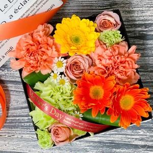 【母の日】BOXフラワー(オレンジ)〈生花〉