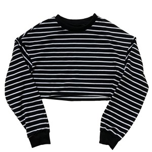【Select】Cropped Stripe Sweat Shirt