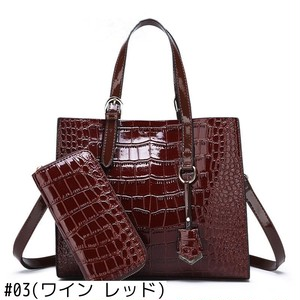 Luxury Handbag Bag PU Leather Handbag Set Crossbody Bag Crocodile レザー クロスボディ ハンドバッグ 財布 パスケース (ZM99-6658651)