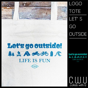 LOGO PIRNT TOTE BAG-L [LET'S GO OUTSIDE]
