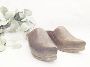 アンティーク ヴィンテージ ウッド2(左) (木靴)    シューズ フランス