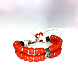 LEATHER BRACELET RED WHITE HEART BEADS / レザーブレスレット レッドホワイトハート