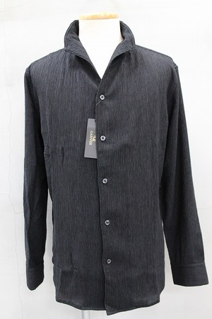 GARNIER ガルニエ 楊柳スタンドカラーシャツ ブラック