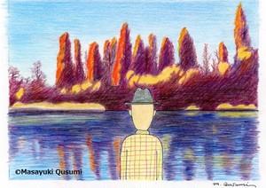 2021年個展出品作品「井之頭公園の早朝。 紅葉を朝焼けが照らした」
