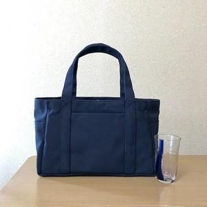 「ポケットトート」横長サイズ「ネイビー(紺)」帆布トートバッグ 倉敷帆布8号