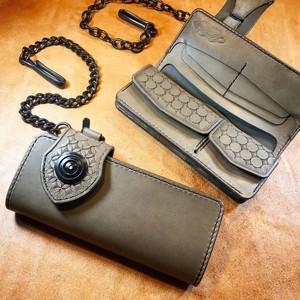 ロングウォレットtype3 :グレー&ダールブラック鍍金仕様