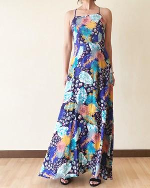 Flower print holter long dress IW-007