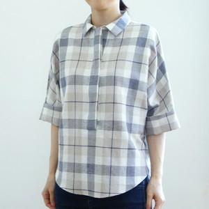 <レディス>SALE 30%OFF 麻綿素材のドルマンスリーブシャツ
