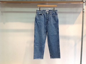 "LIVING CONCEPT""5POCKET WIDE TAPERED DENIM PANTS ICE WASH BLUE CUT OFF"""