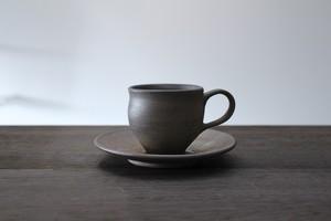 """陶芸作家【大江一人】""""桟切"""" コーヒカップ&ソーサー """"Sangiri"""" Coffee cup &  Saucer"""
