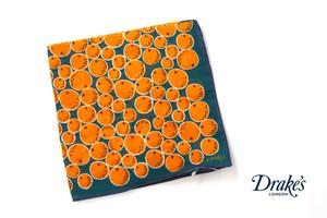 ドレイクス|Drake's|コットンシルクポケットチーフ|オレンジ柄プリント