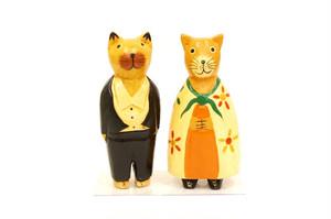 木彫りのバリ人形14 ネコペア